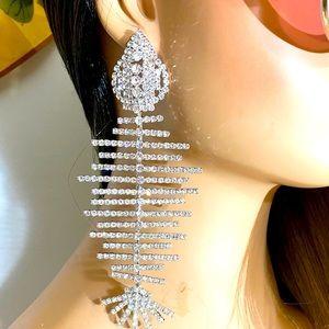 """Large FANCY ❤️FISH SCALE DIAMOND EARRINGS 7"""" long"""